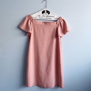 Topshop blush pink off-the-shoulder dress